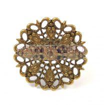 Gyűrűalap - áttört virágmintás - antik sárgaréz színű - állítható - 30mm