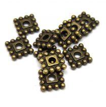 Köztes elem -  Beaded Square - antik sárgaréz színű- 7mm