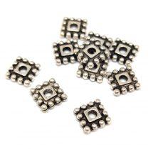 Köztes elem -  Beaded Square - antik ezüst színű  - 7mm