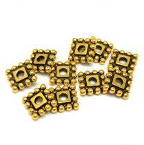 Köztes elem -  Beaded Square - antik arany színű - 7mm
