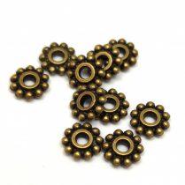 Köztes elem -  Beaded Ring - antik sárgaréz színű- 7mm