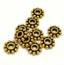 Köztes elem -  Beaded Ring - antik arany színű - 7mm