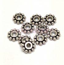 Köztes elem -  Beaded Ring - antik ezüst színű  - 7mm