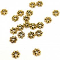 Medál - Heishi kis virág - 7 ágú - arany színű - 4mm