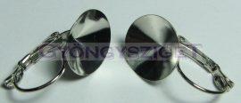 Biztonsági fülbevaló akasztó (ragasztós) - 14mm rivoli - sötét ezüst színű