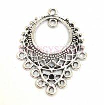 Köztes elem - fülbevalóhoz - antik ezüst színű - 34mm