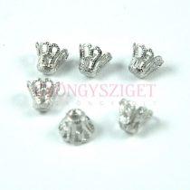 Gyöngykupak - platina színű korona - 5x5mm