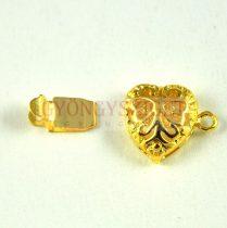 Kapocs - szív alakú rózsamintás - arany színű - 11x15mm