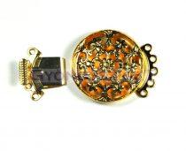 Kapocs - kerek virágmintás - arany színű - 22mm