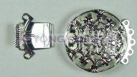 Kapocs - kerek virágmintás - ezüst színű - 22mm