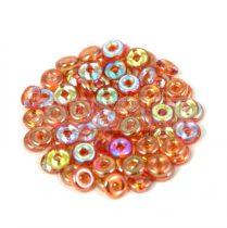 Cseh préselt O gyöngy - O-bead - Crystal Orange Rainbow -1x4mm