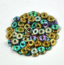 Cseh préselt O gyöngy - O-bead - golden rainbow -1x4mm