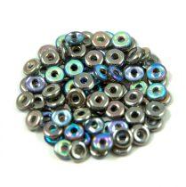 Cseh préselt O gyöngy - O-bead - szivárványos crystal grafit -1x4mm