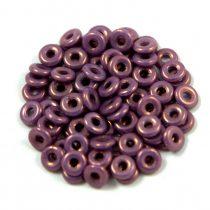 Cseh préselt O gyöngy - O-bead - fehér lila lüszter -1x4mm