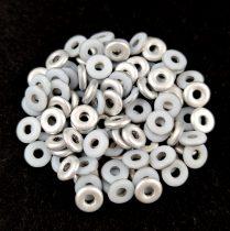 O-bead - Czech Glass Bead - white matte silver -1x4mm