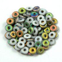 Cseh préselt O gyöngy - O-bead - fehér vitral -1x4mm