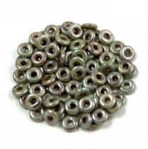 Cseh préselt O gyöngy - O-bead - zöld barna márvány -1x4mm