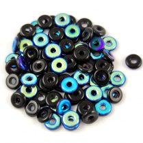 Cseh préselt O gyöngy - O-bead - fekete ab -1x4mm