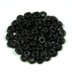 Cseh préselt O gyöngy - O-bead - fekete -1x4mm