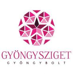 Porcelán gyöngy - 10x12mm - Pink virágos