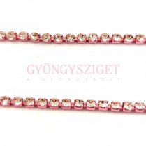 Strasszlánc - rose színű foglalat - Crystal strassz - 2mm