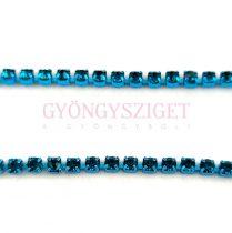 Strasszlánc - capri színű foglalat - Capri Blue strassz - 2mm