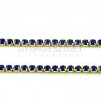 Strasszlánc - arany színű - Sapphire - 2mm