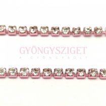 Strasszlánc - pink színű - kristály - ss6 - 2mm