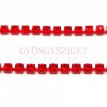 Strasszlánc - piros színű - Light Siam - ss12 - 3mm