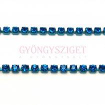 Strasszlánc - montana színű - Capri Blue - ss6 - 2mm
