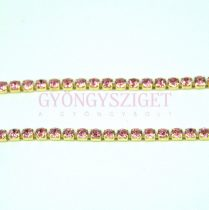 Strasszlánc - arany színű - Light Rose - 2mm