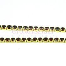 Strasszlánc - arany színű - Siam - 2mm