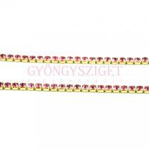 Strasszlánc - arany színű - rose - 2mm