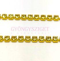 Strasszlánc - arany színű - Jonquil - ss12 - 3mm