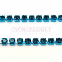 Strasszlánc - capri színű foglalat - Capri Blue strassz - ss12 - 3mm