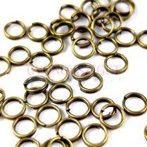 Szerelőkarika - dupla - sárgaréz színű - 5mm - 50db
