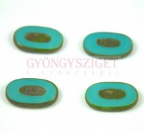 Cseh table cut gyöngy - hosszában fúrt - 63140-86800 - Turquoise Green Picasso - 26x15mm