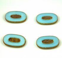Cseh table cut gyöngy - hosszában fúrt - 64000-86800 - Opal Light Blue Picasso - 26x15mm