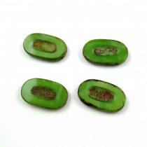 Cseh table cut gyöngy - hosszában fúrt - 54010-86800 - Green Apple Picasso - 25x15mm