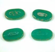 Cseh table cut gyöngy - hosszában fúrt - 52020-43400 - Opal Emerald Picasso - 25x15mm