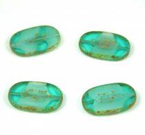 Cseh table cut gyöngy - hosszában fúrt - 06628-43400 - Opal Green Blend Picasso - 26x15mm