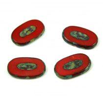Cseh table cut gyöngy - hosszában fúrt - 93200-86800 - Red Picasso - 26x15mm