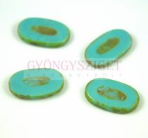 Cseh table cut gyöngy - hosszában fúrt - 63130-86800 - Turquoise Blue Picasso - 26x15mm