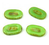 Cseh table cut gyöngy - hosszában fúrt - 54020-86800 - Green Apple Picasso - 25x15mm