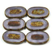 Cseh table cut gyöngy - hosszában fúrt - 24010-86805 - Opal Lavender Picasso- 26x15mm
