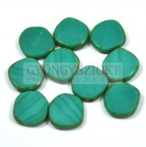 Cseh table cut gyöngy - hosszában fúrt - 63140-86800 - Turquoise Green Picasso - 15mm