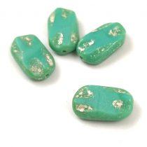 Cseh table cut gyöngy - hosszában fúrt - 63000-86800 - Turquoise Ligh Blue Picasso - 15mm