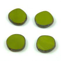 Cseh table cut gyöngy - hosszában fúrt - 53420-86800 - Green Picasso - 15mm