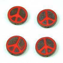 Cseh table cut gyöngy - hosszában fúrt - Peace - 93200-86800 - Red Picasso  - 16mm