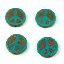 Cseh table cut gyöngy - hosszában fúrt - Peace - 63130-86800 - Turquoise Green Picasso  - 16mm
